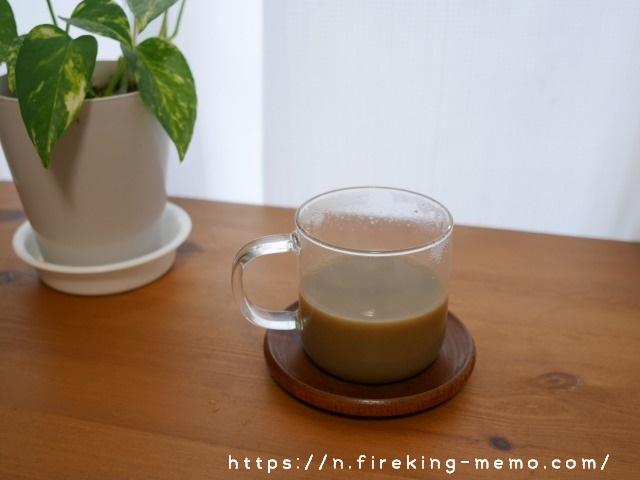 無印良品 耐熱ガラスマグカップとほうじ茶ラテ